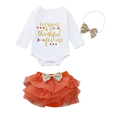 8cf3bea9d81df Baby Girls My 1st Thanksgiving Outfit Romper Bodysuit Tutu Skirt with  Headband Cake Smash Dress Party