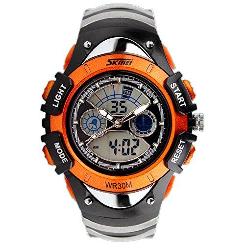 ALPS Kids Watches LED Digital Boys Girls Waterproof Watches (Orange)