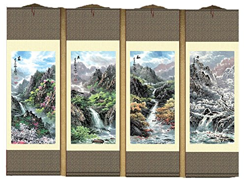 - Grace Art Asian Wall Scroll, Set of 4, Four Seasons
