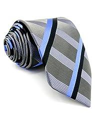 "Shlax&Wing Mens Necktie Stripes Light Gery Blue 58"" 63"" Extra Long Ties"