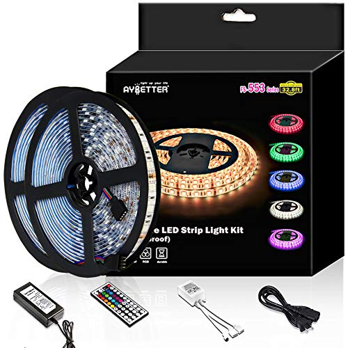 Led Strip Light Waterproof 600leds 32.8ft 10m Waterproof Flexible Color Changing RGB SMD 5050 600leds LED Strip Light Kit with 44 Keys IR Remote Controller and 12V 5A Power -