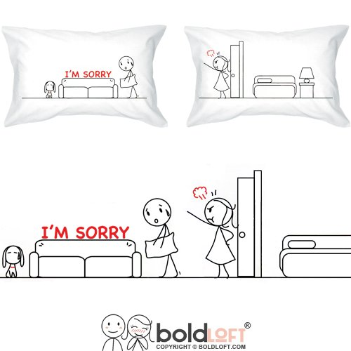 """Price comparison product image BOLDLOFT """"I'm Sorry"""" Couple Pillowcases-Sorry Gifts,I'm Sorry Gifts,Apology Gifts for Her,I'm Sorry Gifts for Her,Sorry Gifts for Girlfriend,Sorry Gifts for Wife"""