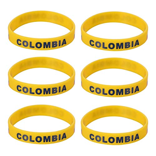 Lively Party Decor Colombia Silicone Wristband 2018 World Cup Country Wristband Soccer Sports Bracelet for Russia 2018 FIFA World Cup 6PCS ()