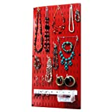 Wall Control Jewelry Organizer Wall Hanging Holder Kit, Red
