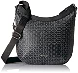 Calvin Klein Women's Monogram Top Zip Messenger, Black/Silver