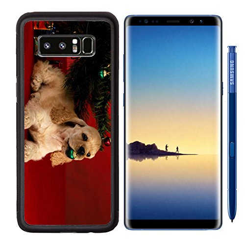 MSD Premium Samsung Galaxy Note8 Aluminum Backplate Bumper Snap Case IMAGE ID: 8228206 cocker spaniel puppy playing with christmas ornament under the christmas tree on red background (Glass Spaniel Ornament)