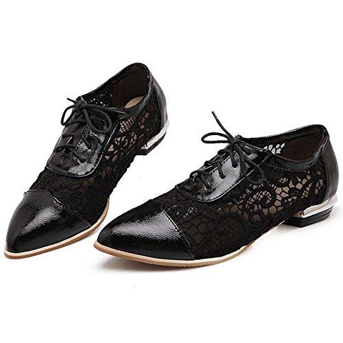 COOLCEPT Women Fashion Lace Up Pumps Shoes Black YZQ0krU