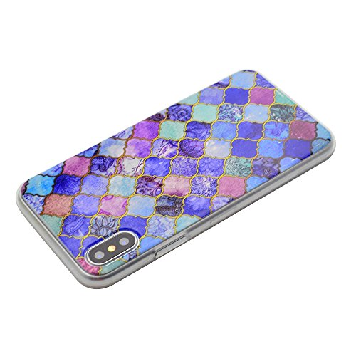 iPhone X Hülle , Modisch Lila Transparent TPU Silikon Schutz Handy Hülle Handytasche HandyHülle Etui Schale Schutzhülle Case Cover für Apple iPhone X