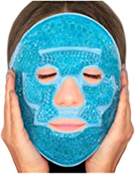 Sofida Gold Hot Gel Face Eye Mask - Reduce Puffy Dark Circles Bags Under Eyes Migraines Stress Relief - Heat Ice Therapy Pack Compress - Sinus Pressure Acne Headaches Relaxation - Blue