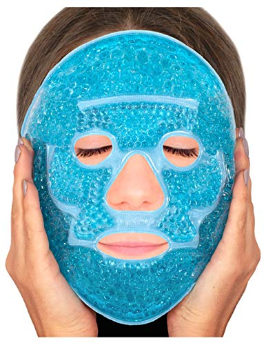 Blue Gel Eye Mask (Sofida Gold Hot Gel Face Eye Mask - Reduce Puffy Dark Circles Bags Under Eyes Migraines Stress Relief - Heat Ice Therapy Pack Compress - Sinus Pressure Acne Headaches Relaxation - Blue)