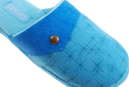 Colorfulworldstore Soft bottom&PU leather copper buckle Home cotton slippers-Men&women's snow boots shoes Women-sky blue esgHYqzw