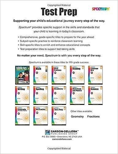 Spectrum Test Prep, Grade 5: Spectrum: 0044222241773: Amazon.com ...