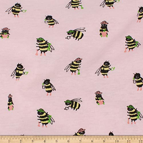 Telio Organic Stretch Cotton Jersey Busy Bee Fabric, Pink, Fabric By The Yard