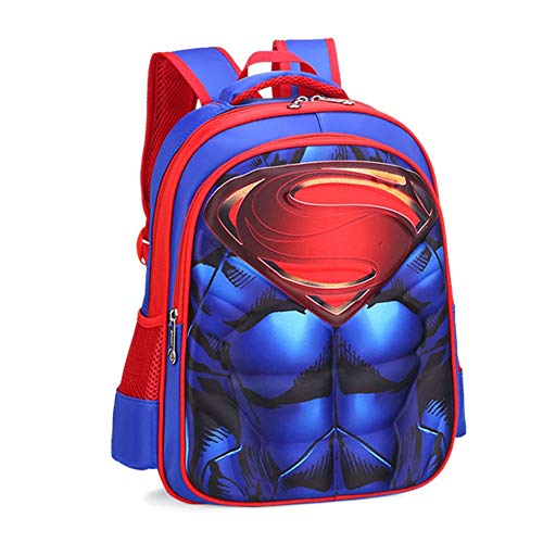 Purple GO2 Kids School Bag Spiderman Backpack Captain America Batman for Boys Children School Backpack with 3D Anime Super Hero Design(Superman-L)