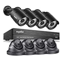 SANNCE HD-TVI 1080P Surveillance Camera Systems W/ 8-Channel DVR Recorder (Support Up to 8TB HDD Capacity) 4 Bullet Cameras and 4 Dome Cameras 100ft Night Vision, Easy Remote Access--No HDD