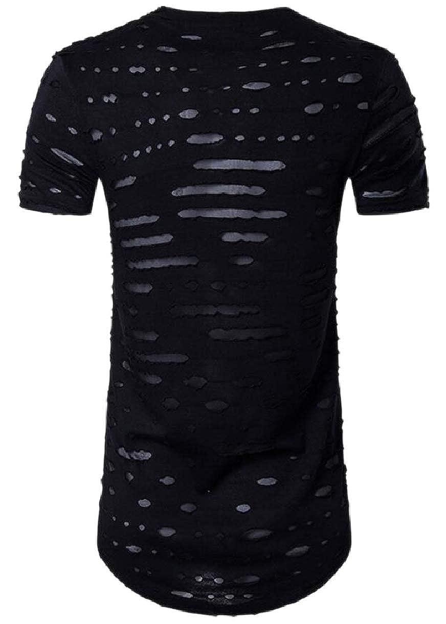 CBTLVSN Mens Lightweight Hole Short Sleeve Broken Holes Hip-Hop Crew Neck T-Shirt