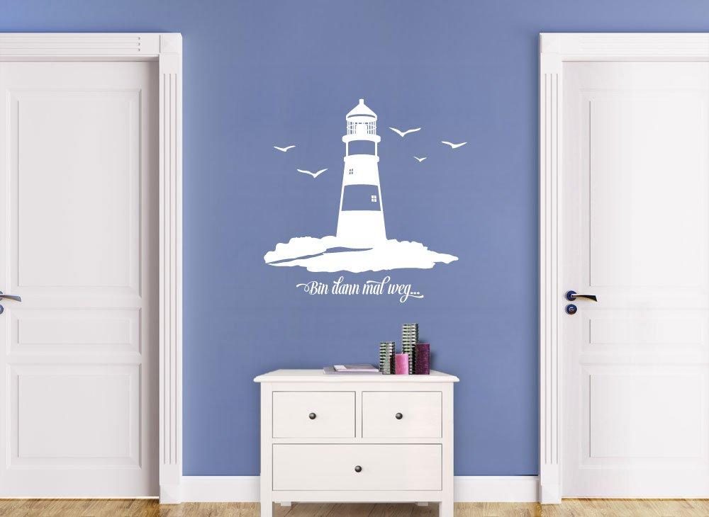 Wandtattoo-Günstig G108 G108 G108 Spruch Bin dann mal weg + Leuchtturm Wandaufkleber Wandsticker Bad Flur azurblau (BxH) 100 x 100 cm B014V04QU4 Wandtattoos & Wandbilder d04744