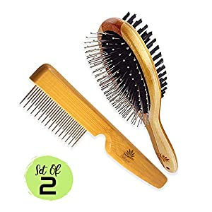 AtEase Accents Dog Gift Set-New Puppy Pet Kit-Starter Brush and Comb Professional Double Sided, Detangling, Dematting All Natural Grooming for Long and Short haired Dogs Cats Puppies Kittens