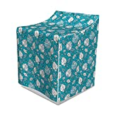 Lunarable Gardening Washer Cover, Sketch Style Blue Shades of Vintage Roses and Wild Flowers in Bloom, Suitable for Dryer and Washing Machine, 29'' x 28'' x 40'', Pale Blue and White
