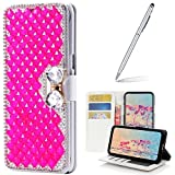 Yaheeda LG V30 Case with 2 in 1 Stylus and Ballpoint Pen, [Stand Feature] Butterfly Crystal Wallet Case Premium [Bling Luxury] Leather Flip Cover [Card Slots] For LG V30/LG V30 +