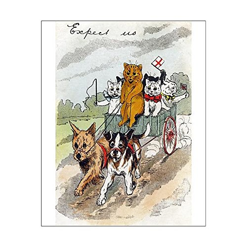 20x16 Print of Cats in a dog cart - Louis Wain (7212661) (Cart S27)