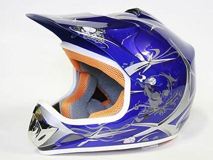 S, Azul Casco Moto Cross Infantil para Ni/ños
