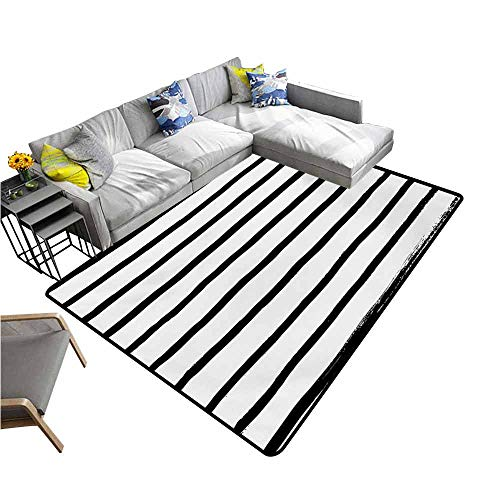 (Large Floor Mats for Living Room Modern,Abstract Minimalist Horizontal Paintbrush Stripes Bands Simplistic Artful Design,Charcoal Grey 64