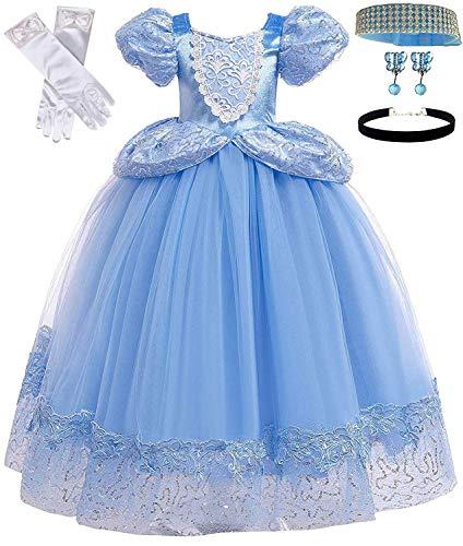 Romy's Collection Princess Cinderella Dress (7-8, Blue) (Kid Collection Girls Dress)