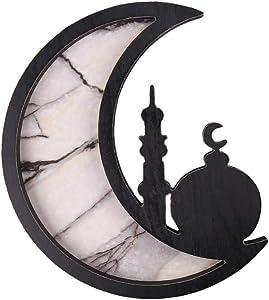 PTYQU Wooden Star Moon Shaped Ramadan Tray, Marble Pattern Tableware Tray Eid Mubarak Party Serving Wood Display Decoration Home Ornament (Black)