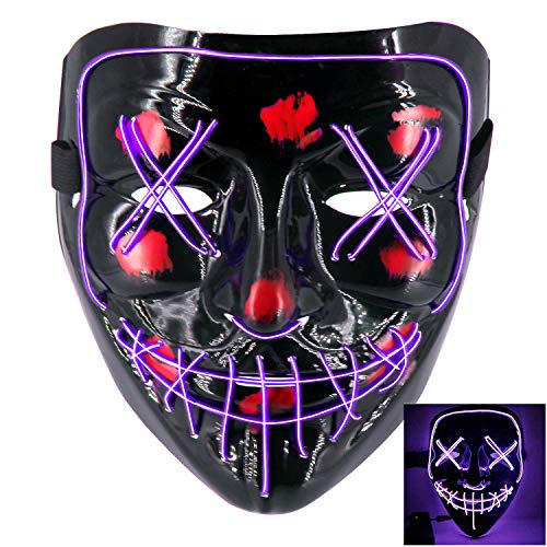 heytech LED Mask Halloween Scary Mask Cosplay Led Costume Mask EL Wire Light up for Halloween Festival Party Purple -