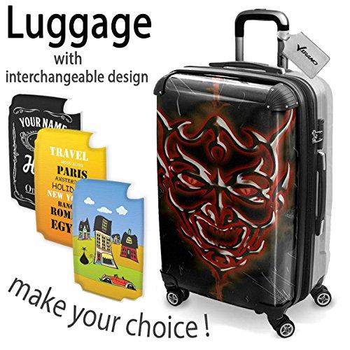 Tribal 10003, Skull, Hard Luggage Trolley Koffer Hartschalen Hartgepäck Case, 360 4 Rollen System mit Austauschbar und Farbig Design. Größe Mittel, M