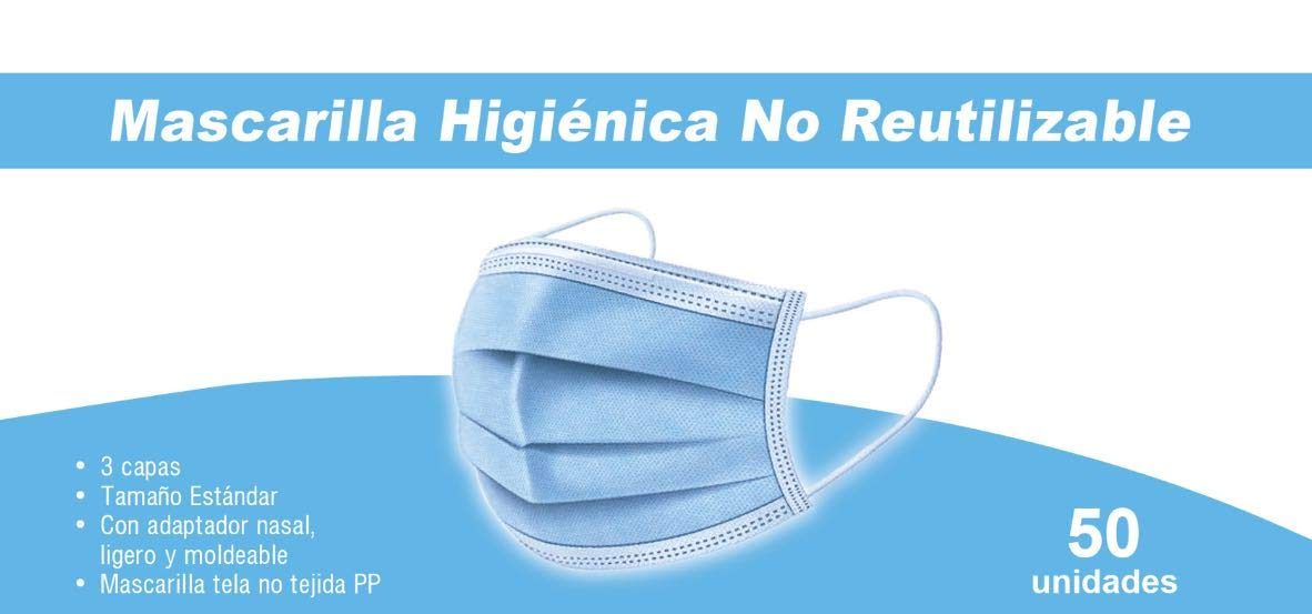 Mascarillas Higiénicas Desechables, 3 Capas (50 unidades)