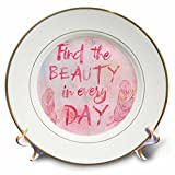 3dRose Andrea Haase Inspirational Typography - Watercolor Typography Find The Beauty In Every Day - 8 inch Porcelain Plate (cp_271232_1)