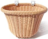 Colorbasket 01419 Adult Front Handlebar Bike Basket, All Weather, Water Resistant, Adjustable Leather Straps, Food-Contact Safe, Natural