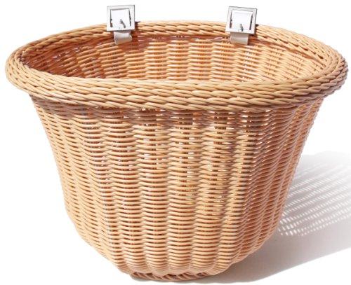 Colorbasket 01419 Adult Front Handlebar Bike Basket, All Weather, Water Resistant, Adjustable Leather Straps, Food-Contact Safe, Natural (Baskets Wicker Bicycle)