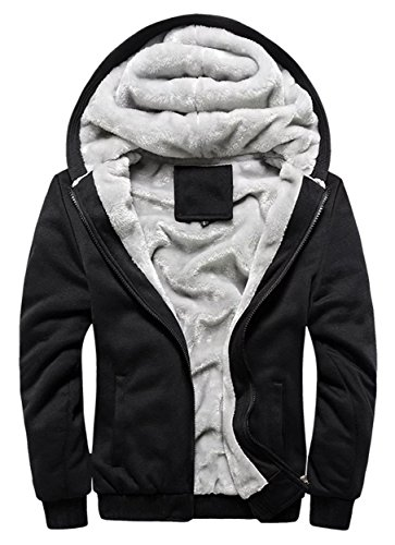 Cameinic Mens Thick Warm Padded Lined Fleece Hooded - Mens Zip Up Lined Hoodie