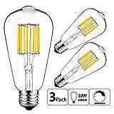 (US) GEZEE 10W Edison Style Vintage LED Filament Light Bulb,100W Incandescent Replacement,Warm White 2700K,1000LM, E26 Medium Base Lamp, ST21(ST64) Antique Shape, Dimmable(3 Pack)