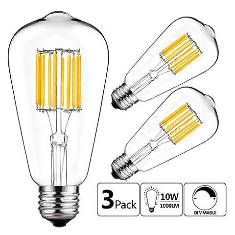 GEZEE 10W Edison Style Vintage LED Filament Light Bulb,100W Incandescent Replacement,Warm White 2700K,1000LM, E26 Medium Base Lamp, ST21(ST64) Antique Shape, Dimmable(3 (100watt Edison Light Bulbs)