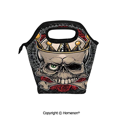 Insulated Neoprene Soft Lunch Bag Tote Handbag lunchbox,3d prited with Skull with Crown Roses Bones Dead King Halloween,For School work Office Kids Lunch Box & Food Container -