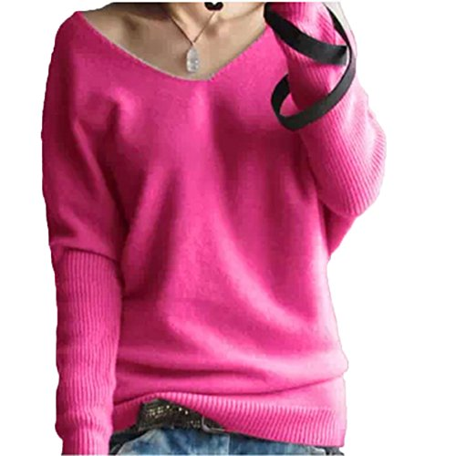 FTSUCQ Womens V Neck Pullover Long Sleeve Slim knitted Sweater Shirt Rosered Knitwear,L