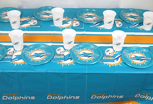 Miami Dolphins Party Decorations (Miami Dolphins 49 Pieces Playoffs Party Set, Includes Plates, Napkins, Jumbo Cups and a)