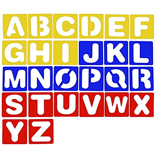 Plastic ABC Alphabet Letter Stencils Drawing Painting Stencils Templates Kit Set of 26 by SHXSTORE Abc Kit