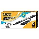 BIC Roller Glide Deco Fine Point Roller Ball Pen (0.7mm) Dozen Box, Black