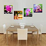 Canvas Wall Art Zen Canvas Prints SPA Stone Green Bamboo Pink Waterlily and Frangipani Picture - 4 Pieces Framed Canvas Art Modern Artwork Canvas Painting for Home Office Kitchen Decoration
