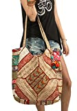 Oversize Large Shoulder Bag Floral Embroidered Tote Travel School Market Gold Beach Boho Hippie Colorful