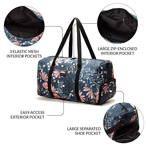 Jadyn B 22″ Women's Weekender Duffel Bag with Shoe Pocket, Navy Floral