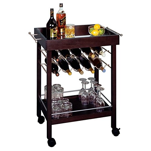 Kitchen Bar Serving Cart on 4 Caster Wheels & Lower Shelf Storage w/ Rack to Hold Alcohol up to 10 Bottles of Wine (With Bar Rack Wine Cart)