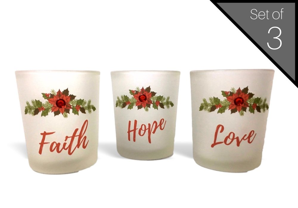 Banberry Designs Faith, Hope and Love Candle Holders - Set of 3 Frosted Glass Votive Holders with Red Christmas Poinsettia Design - White LED Tealight Candles Included by Banberry Designs (Image #1)