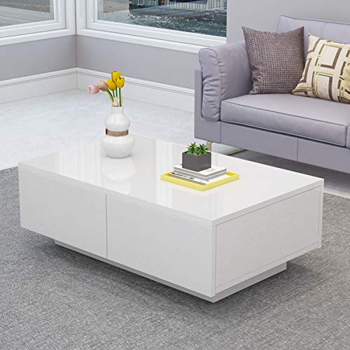 - Cocoarm Modern Glossy White Coffee Table,Cocktail End Table with 4 Drawers Suit for Living Room,Easy Assembly