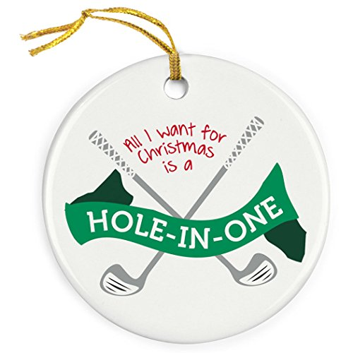 ChalkTalkSPORTS Hole in One Christmas Ornament | Golf Porcelain Ornaments